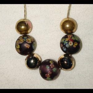 Necklace Gold thread Bead VTG